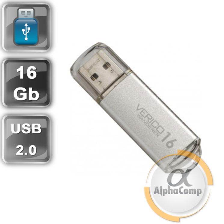 USB Flash 16Gb Verico Wanderer USB2.0 (VP08-16GSV1E) Silver
