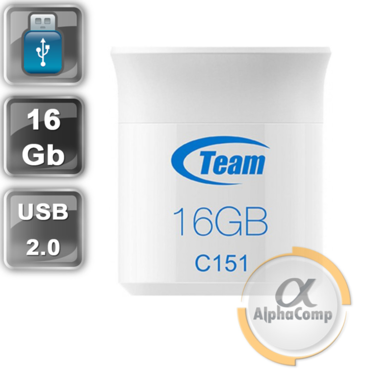 USB Flash 16Gb Team C151 USB2.0 (TC15116GL01) White