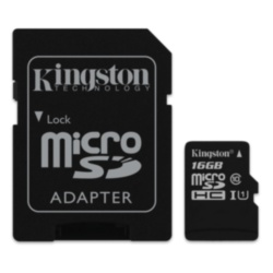 карта памяти microSD 16GB Kingston Class 10 UHS-I + SD adapter (SDC10G2/16GB)